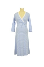 Levke Nursing Night Dress (Light Blue & White Stripe) by Bellybutton Maternity