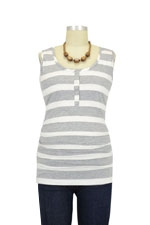 NOM Ruched Snap Nursing Tank (Grey Stripe) by NOM