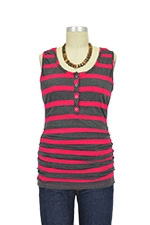 NOM Ruched Snap Nursing Tank (Fuchsia Charcoal Stripe) by NOM