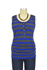 NOM Ruched Snap Nursing Tank (Cobalt Charcoal Stripe) by NOM