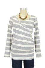 Nom Surplice Long Sleeve Nursing Top (Grey Stripe) by NOM