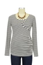 Nom Surplice Long Sleeve Nursing Top (Black Stripe) by NOM