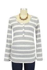 Nom Ruched Long Sleeve Snap Nursing Top (Grey Stripe) by NOM