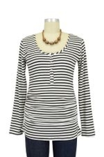 Nom Ruched Long Sleeve Snap Nursing Top (Black Stripe) by NOM