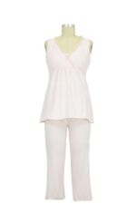 Chiffon Trim Nursing PJ Set (Barely Pink) by Mothers en vogue