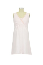 Chiffon Trim Nursing Night Dress (Barely Pink) by Mothers en vogue