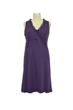 Chiffon Trim Nursing Night Dress (Midnight Petunia) by Mothers en vogue