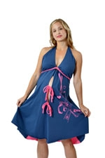 Pretty Pushers 'I Dream of Sushi' Delivery Gown (Navy & Pink) by Pretty Pushers