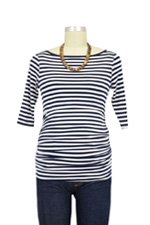 Audrey 3/4 Sleeve Boatneck Nursing Top (Navy & White Stripes) by Baju Mama