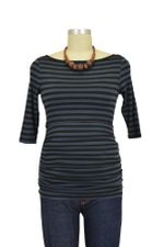 Audrey 3/4 Sleeve Boatneck Nursing Top (Charcoal/Black Stripe) by Baju Mama