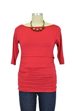 Audrey 3/4 Sleeve Boatneck Nursing Top (Ruby Red) by Baju Mama