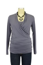 Isabella Nursing Top - Long Sleeve (Purple Grey) by Baju Mama