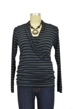 Isabella Nursing Top - Long Sleeve (Charcoal/Black Stripe) by Baju Mama