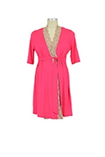 Emma Lace Trim Robe (Coral Pink/Cream Lace) by Baju Mama