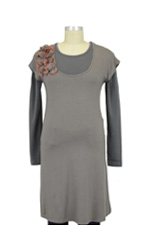 Petale Layered 2-Piece Nursing Tunic (Cobblestone & Charcoal) by Mothers en vogue
