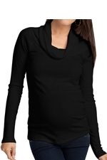 Ingrid & Isabel Long Sleeve Cowl Neck Maternity Tee (Jet Black) by Ingrid & Isabel