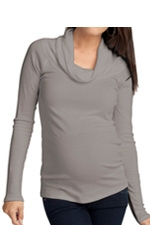 Ingrid & Isabel Long Sleeve Cowl Neck Maternity Tee (Grey) by Ingrid & Isabel