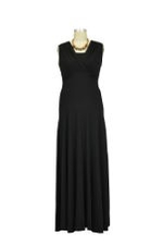 Lila Tummy Tuck Maxi Nursing Dress (Black) by Maternal America