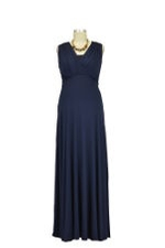 Lila Tummy Tuck Maxi Nursing Dress (Navy) by Maternal America