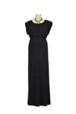 Noir Maxi Elastic Waist Nursing Dress (Black) by Dote