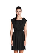 Noir Elastic Waist Nursing Dress (Black) by Dote