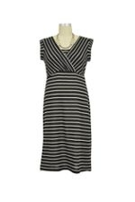 JW D&A Audra Stripes Nursing Dress with Drape Back (Black) by Japanese Weekend