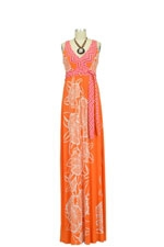 Emma Maxi Maternity Dress (Orange & Pink Floral) by Olian