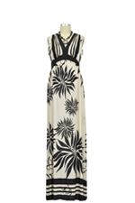 Isabella Maxi Maternity Dress (Beige & Black Floral) by Olian