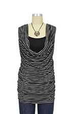 Leah Stripes Cowl Sleeveless Nursing Top (Black & Grey Stripes) by Olian