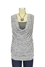 Leah Stripes Cowl Sleeveless Nursing Top (White & Gray Stripes) by Olian