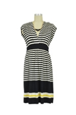 Sophia Maternity Dress (Black & Yellow Stripes) by Olian