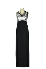 Sophia Maxi Maternity Dress (Black & Ivory Stripes) by Olian
