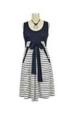 Gena Maternity Dress (Navy & White Stripes) by Olian