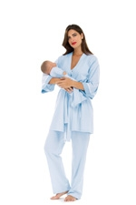 Anne 4 pc. Nursing PJ Set (Blue & White Mini Stripes) by Olian
