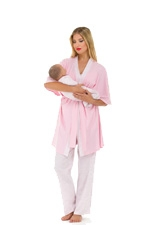Anne 4 pc. Nursing PJ Set (Dot & Mini Stripes) by Olian