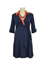 Maternal America Front Tie Maternity  Shirt Dress (Navy with Orange) by Maternal America