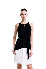 Rachel Elastic Waist Nursing Dress (Black & Cream) by Dote