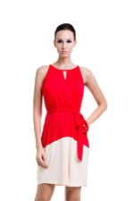 Rachel Elastic Waist Nursing Dress (Red & Beige) by Dote