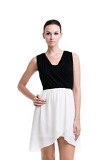 Paige Nursing Dress (Black & Cream) by Dote