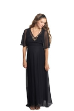 Cloud Nine Silk  Nursing Maxi Dress (Black) by Mothers en vogue