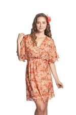 Julon Printed Silk Nursing Dress (Orange Floral Print) by Mothers en vogue