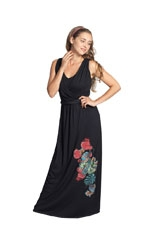 Palazzo Printed Maxi Drop Waist Nursing Dress (Black) by Mothers en vogue