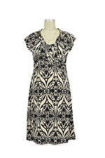 D&A Twist Front Nursing Dress (Black and Ivory Floral Print) by Japanese Weekend