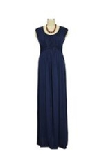 D&A Basket Weave Maxi Nursing Dress (Navy) by Japanese Weekend