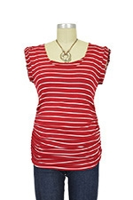 D&A Striped Side Ruched Nursing Top w/Tie Back (Red and White Stripe) by Japanese Weekend