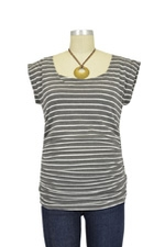 D&A Striped Side Ruched Nursing Top w/Tie Back (Heather Grey and White Stripes) by Japanese Weekend