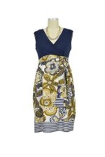 D&A Surplice Colorblock Nursing Dress (Navy Gold Floral) by Japanese Weekend