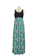 Mackenzie Colorblock Tank Maxi Nursing Dress (Black & Green Ikat Print) by Larrivo