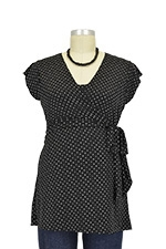 D&A Stacy Wrap Nursing Top (Black and White Dot) by Japanese Weekend