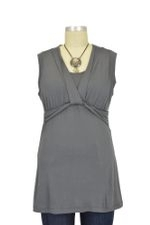 Pia D&A Sleeveless Draped Neck Nursing Top (Smoke) by Japanese Weekend